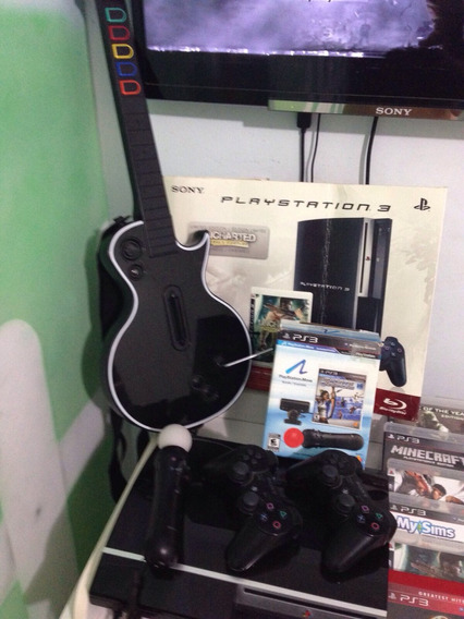 Ps3 160gb + 2 Controles + 34 Jogos + Kit Move + Guitar Hero.