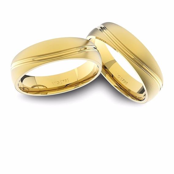 Alianças De Ouro 18k Amarelo Anatômicas (6.00 Mm De Largura)
