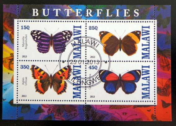 Malawi Mariposas, Bloque 4 Sellos 2013 Usado L6977