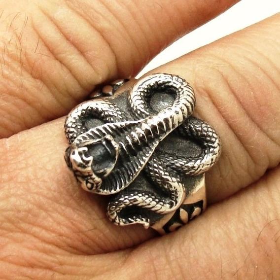 Anel Unissex Serpente Cobra Naja Flor De Lis Prata 20613