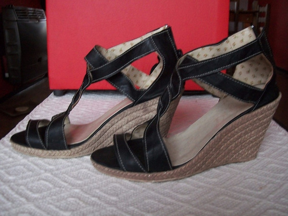 Sandalias Zapatos Taco Chino Simil Yute Usadas 7 Cm N° 39
