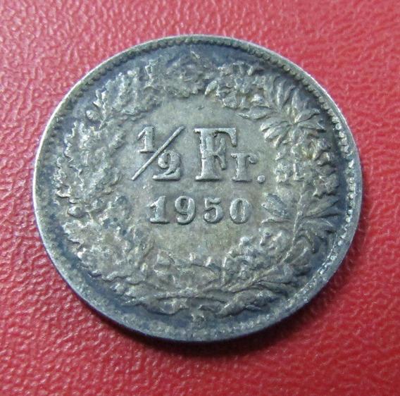 Suiza Moneda 1/2 Franco Au 1950 B Plata