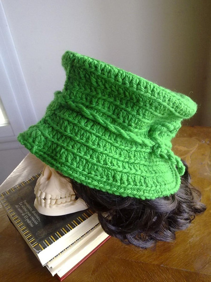 Sombrero Tejido Lana Verde Galera Ala Capelina Piluso Mujer