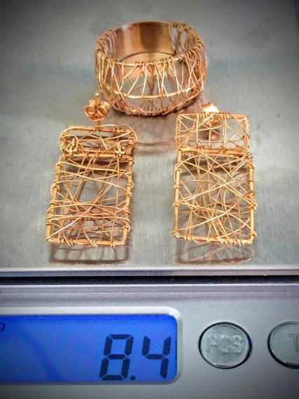 Conjunto-anel/brincos/ouro 18k-750-8.4gr.-aro20-brincos 17mm