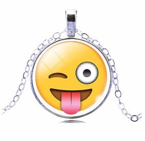 Colar Emoticons Emojis Smiley Sarcasmo Folheado Prata