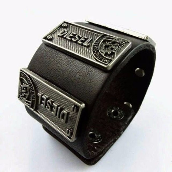 Pulseira Bracelet Couro Legitimo Diesel Preta Joia