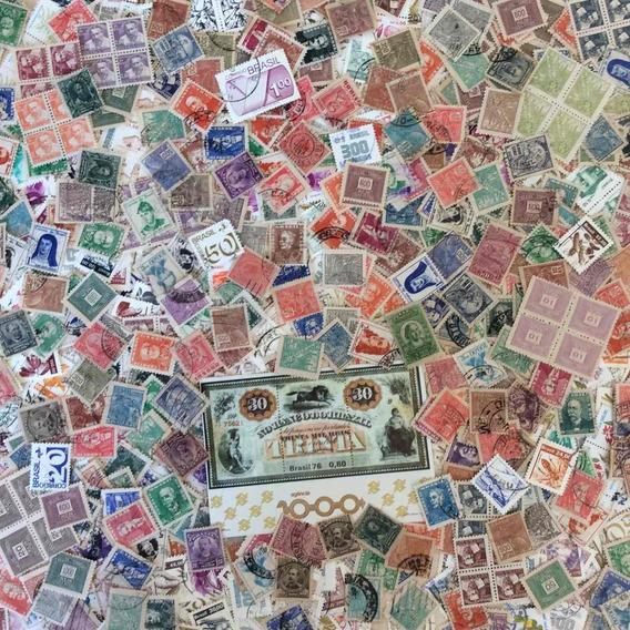 Lote 01: +1000 Selos Do Brasil U / N + Bloco