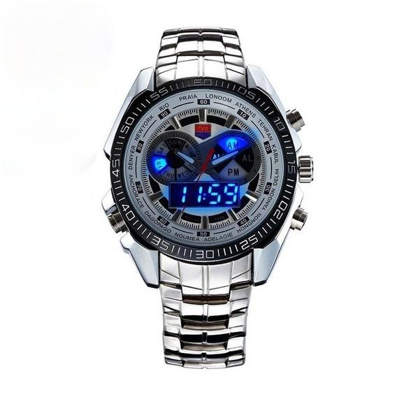 Relógio Masculino Importado Branco De Aço Analógico/digital
