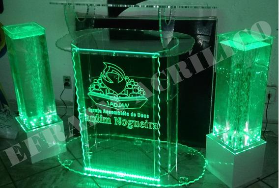 Púlpito De Acrílico Grande + Led 16 Cores + Gravação A Laser