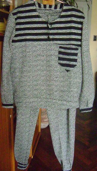 Traje De Pantalon Y Sweater Negro Gris Y Blanco Tramado T M