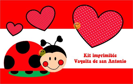 Kit Imprimible Vaquita De San Antonio Cumples - Tarjetas