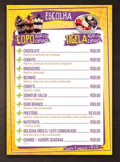 5 Cardápio Rigido Restaurante Bar Lanchonete Padaria
