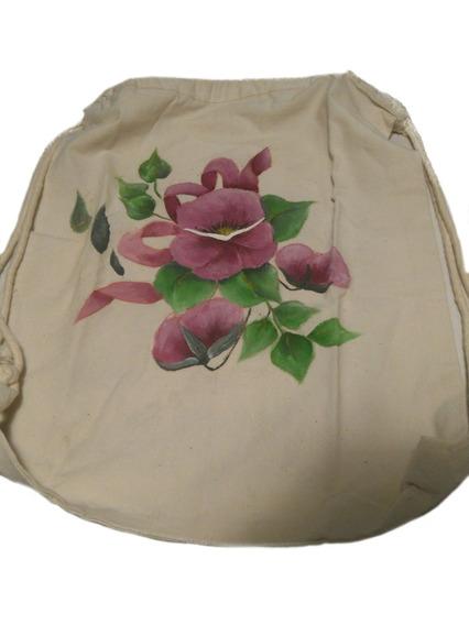 Mochila Tipo Marinera Mujer Flores Violeta Pintada A Mano