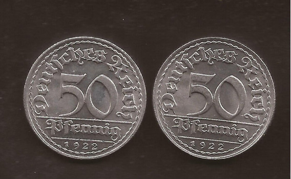 Alemania 50 Pfennig 1922 Weimar 2 Monedas Nuevas
