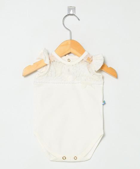 Body Bebê Menina Pingo Doce Em Renda Com Detalhe Em Pérolas