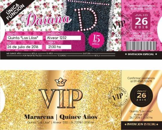 Invitaciones Ticket 15 Años Casamiento Originales X10