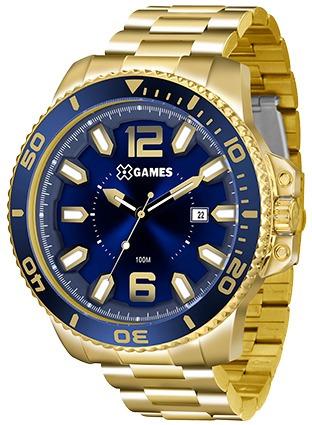 Relógio X-games Masculino Xmgs1019 Azul E Dourado Lançamento
