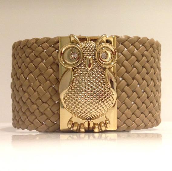 Bracelete Pulseira Couro Coruja Bege Dourado Strass