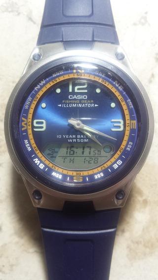 Casio Ana Digi Moon Phase Fishing Gear Bateria 10 Anos