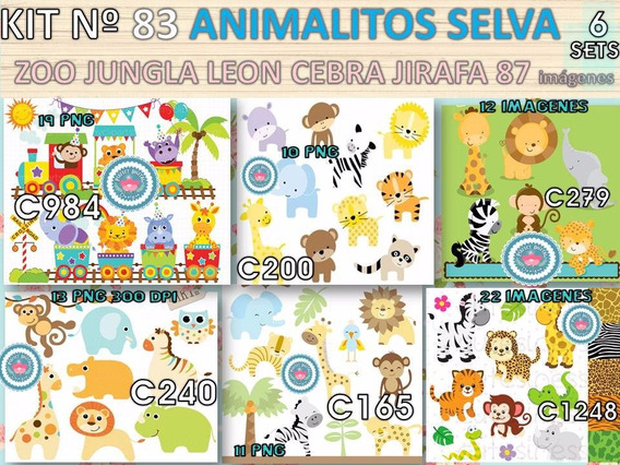 Kit Imprimible X 6 Set Animales Jungla Selva P/ Golosinas