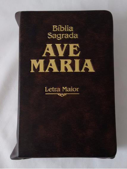Bíblia Sagrada Ave Maria Letra Maior Zíper Marrom Palavra