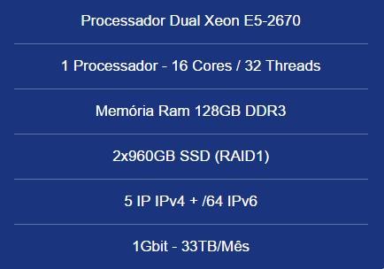 Servidor Dedicado Dual Xeon E5-2670- 128gb- 2x960gb Ssd-5 Ip