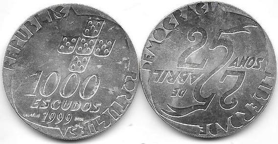 Moneda Portugal Plata 1000 Escudos 1999 25 Años Revolucion