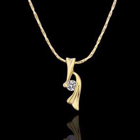 Colar Feminino Banhado Ouro Zircônia Com 4mm