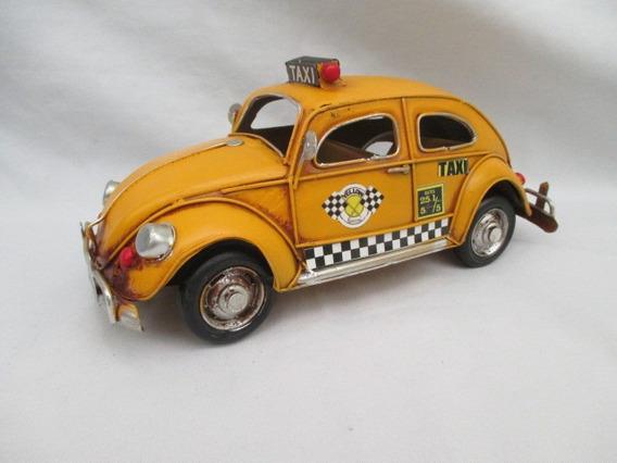 Fusca De Lata Retrô Decoração Taxi - 26cm