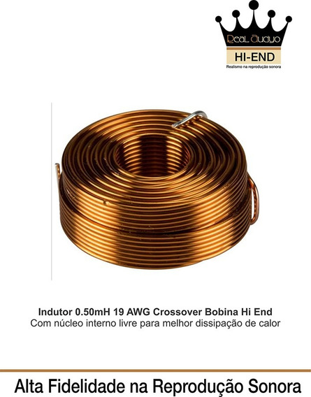 Indutor 0.50 Mh-19 Awg Divisor Frequencia Hi End Real Audio