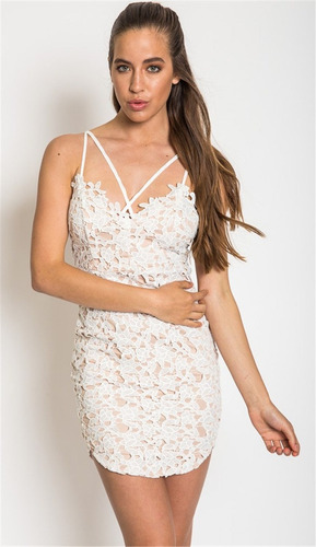 Vestido De Encaje Blanco Talla M Importado Nuevo Stock