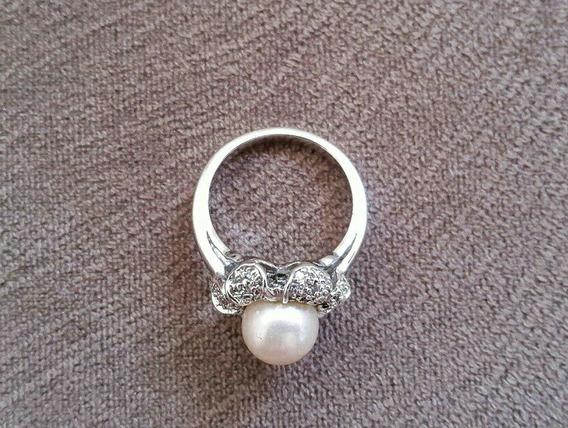 Anel Pérola Cluster 1800 Com Diamantes Flor