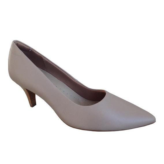 Sapato Feminino Scarpin Usaflex J6440 Couro Salto 7cm Nude
