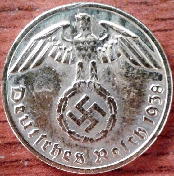 Alemanha 1938 A Nazista Banhada Ouro 24k 2ª Guerra 17,5mm 1