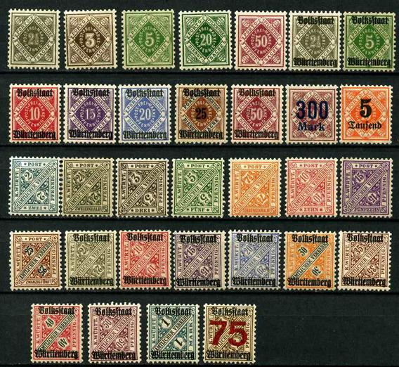 Alemania Wurttemberg 1906 - 31 Sellos Mint 20 U$d De Catalogo - 005