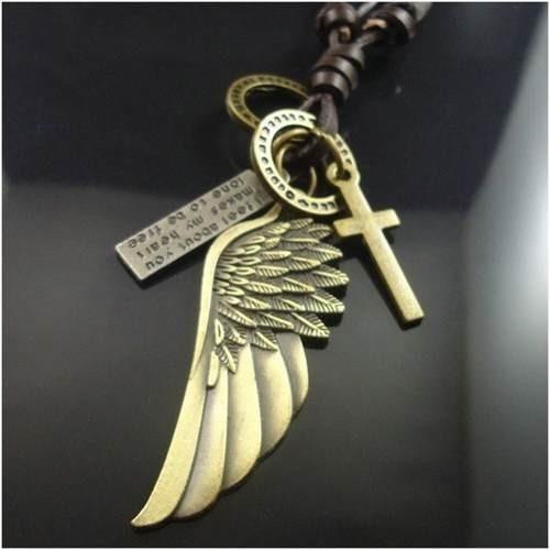 Colar Cordão Asas De Anjo Dourado Masculino Couro Legítimo