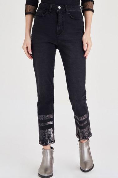 Calças (feminino) Black Printed Jean