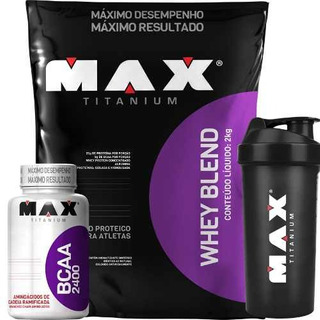Whey Blend Proteico + Bcaa + Shaker - Max Titanium