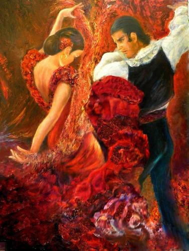 Foto Grande Flamenco Dancer Papel Tela  65x90cm Parede Obra