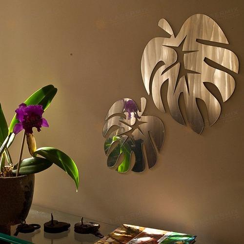 Espelho Decorativo Em Acrílico Folhas Quarto Sala 2 Peças