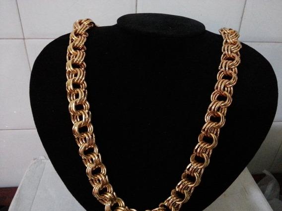 Cordão Mega Friso Triplo Banhado A Ouro 20mm Apenas R$ 349