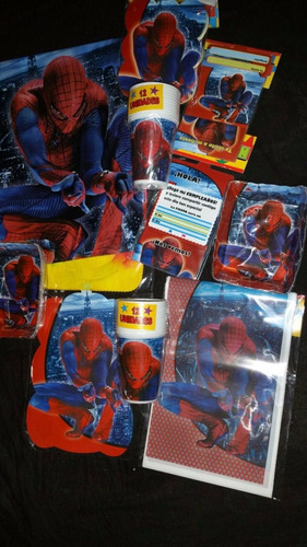 Kit Set Decoración Fiesta Spiderman Cumple Años 24 Personas2