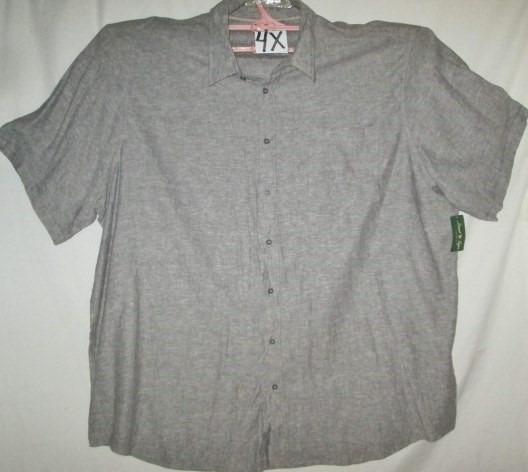 Camisa Vestir/casual Gris Nevada Talla 4x David Taylor