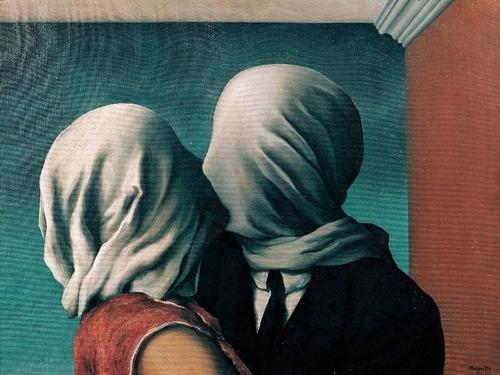 Gravura Foto Para Quadro René Magritte 60cmx80cm Les Amants