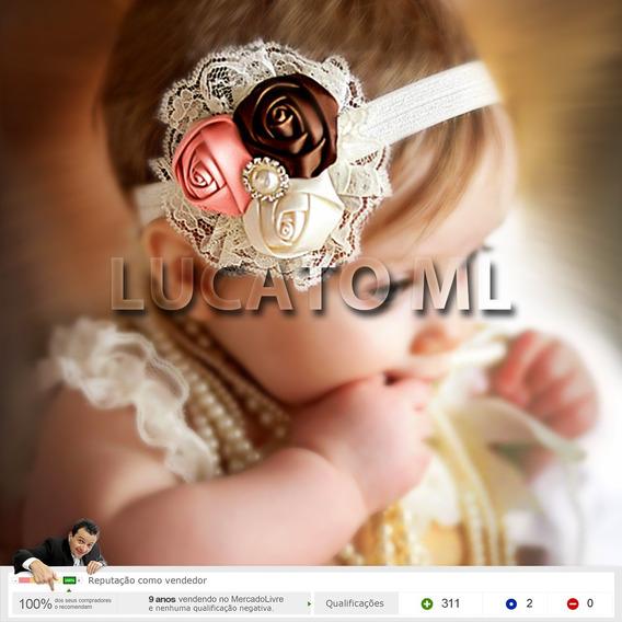 Tiara Com 3 Rosas E 1 Perola Para Bebê Acessório Newborn Nc
