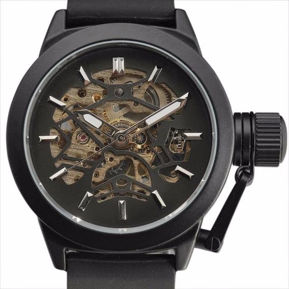 Nova Moda Esqueleto Mecânico Legal Relógio De Silicone Wrist
