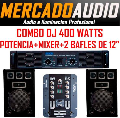Imagen 1 de 5 de Combo Dj 400 Watts Potencia +mixer+ 2 Bafles 12
