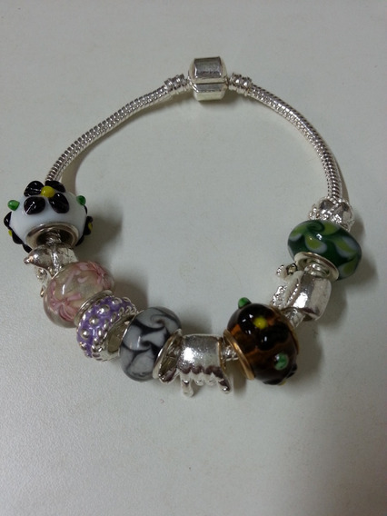Kit 2 Pulseiras Bracelete Pandora, Vivara, Berloques Miçanga