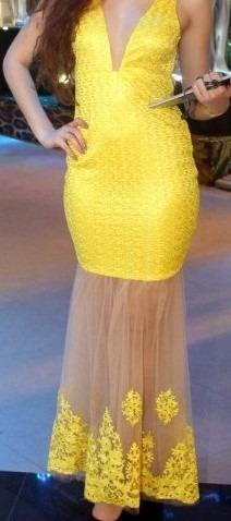 Vestido Para Festa Amarelo Ouro Usado Uma Vez!