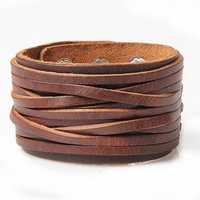 Pulseira 4cm De Largura Couro Bracelete Masculina Co Marrom